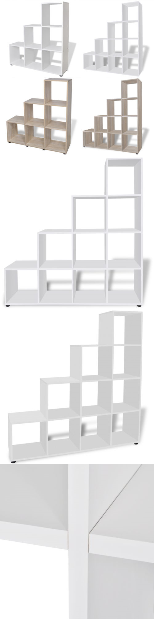Bookcases vidaxl staircase shelf room divider bookcase display