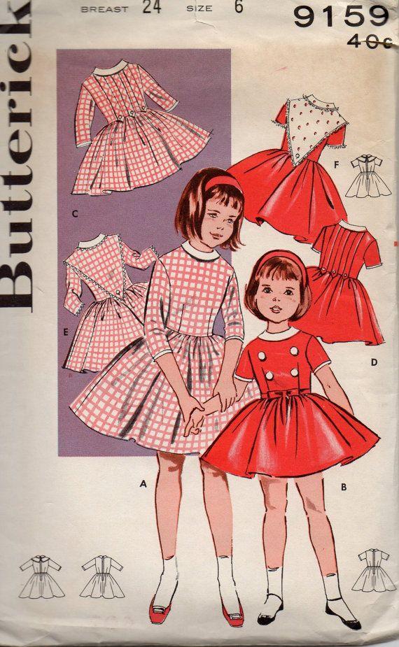Butterick 9159 1960s Girls Dress Pattern 6 Versions Contrast Trims ...