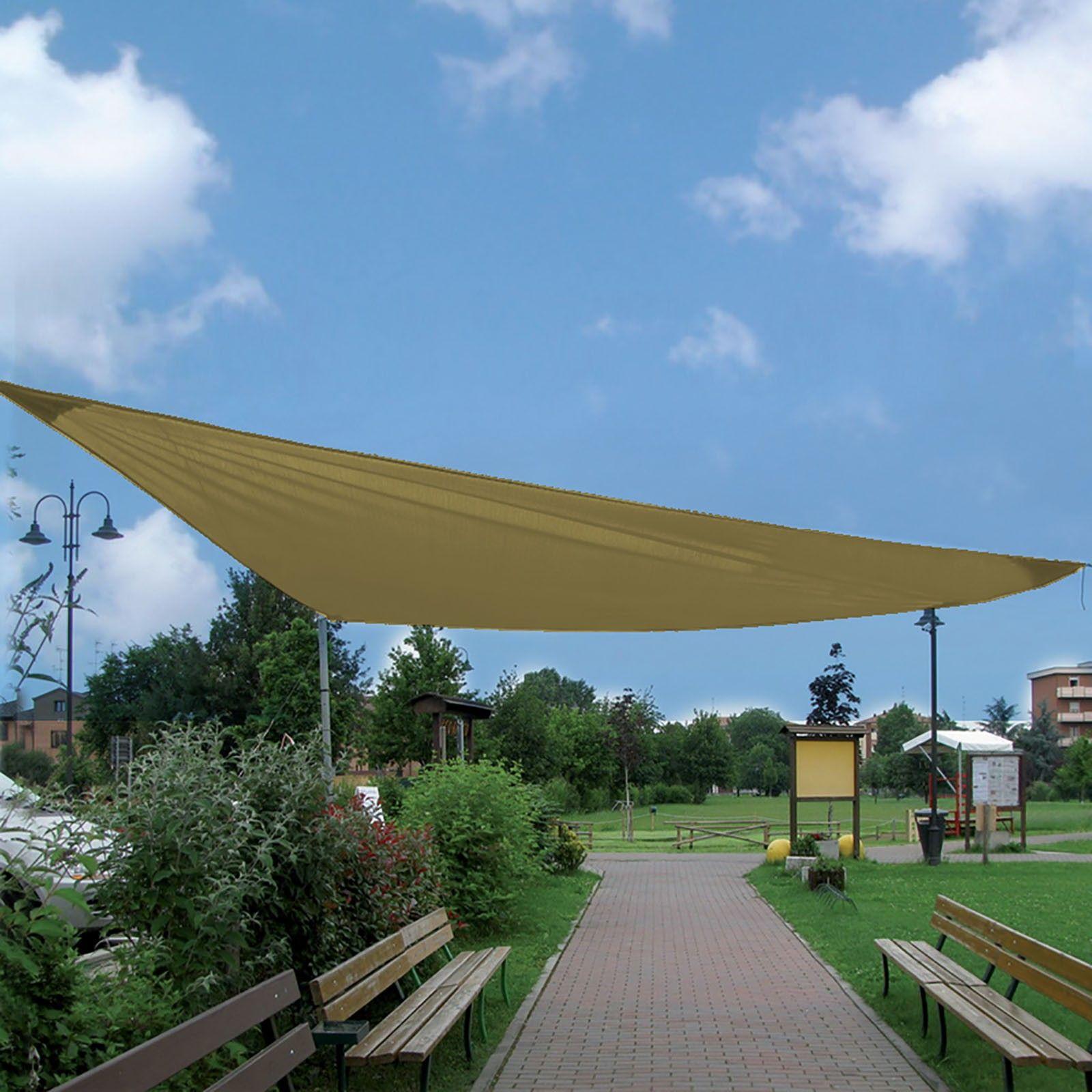 Vela Triangolare Da Giardino telo gazebo vela mt 5x5x5 triangolare a 3 corde di fissaggio