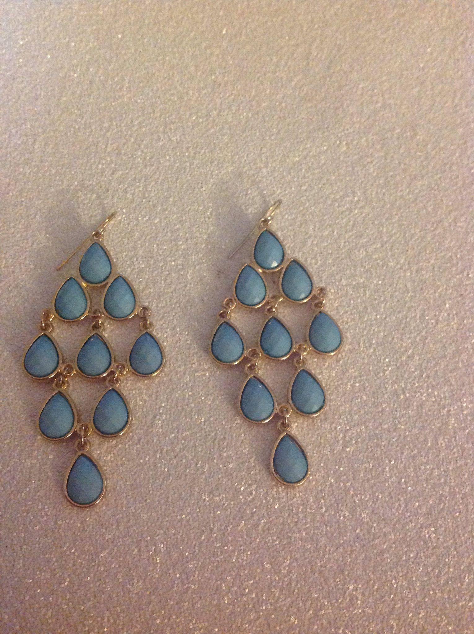 Dangle teardrop earrings in blue