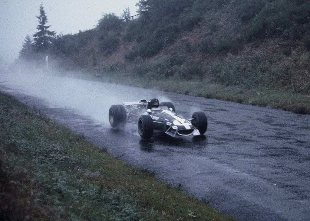 "Dan Gurney in his Eagle heads towards ""Schwedenkreuz"" at the German Grand Prix 1968"