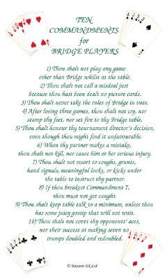 Ten Commandments for a Bridge Player Tea Towel