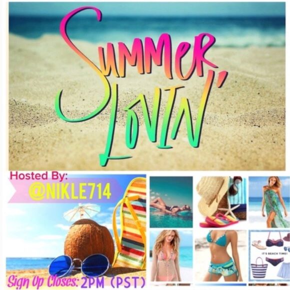 4.21SUMMER LOVIN SIGN UP Share 10 Summer items. For example: Shorts, NWT or NWOT Bathing Suits, Cover Ups, Sandals, Beach Hats, Glasses, etc. If they do not have 10 items repeat what they have until you share 10 times. Sign Up closes at 2PM (PST) and you have until midnight Your Time to share. ALL CLOSETS MUST FOLLOW POSH RULESSUMMER LOVIN HOSTED BY @nikle714 Other