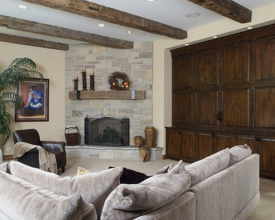 Family Room With Corner Fireplace Traditional Family Room Corner Fireplace Design Pictur Small Basement Remodel Traditional Family Rooms Basement Remodeling