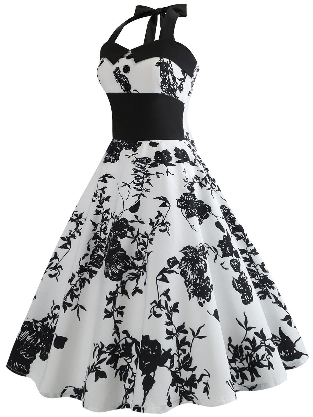 51e2eb1f8e7 Floral Print Halter Knee Length Dress in 2019   prom dress   Dresses ...
