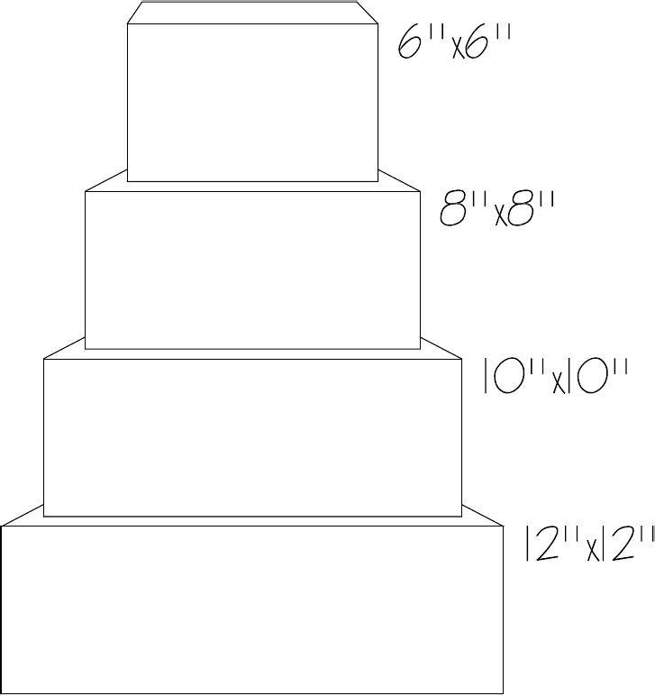 Sq Cake Template | Cake templates, Cake sketch, Wedding ...