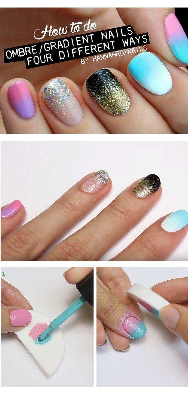 36 Best Tutorials For Ombre Nails Diy Nails Pinterest Design
