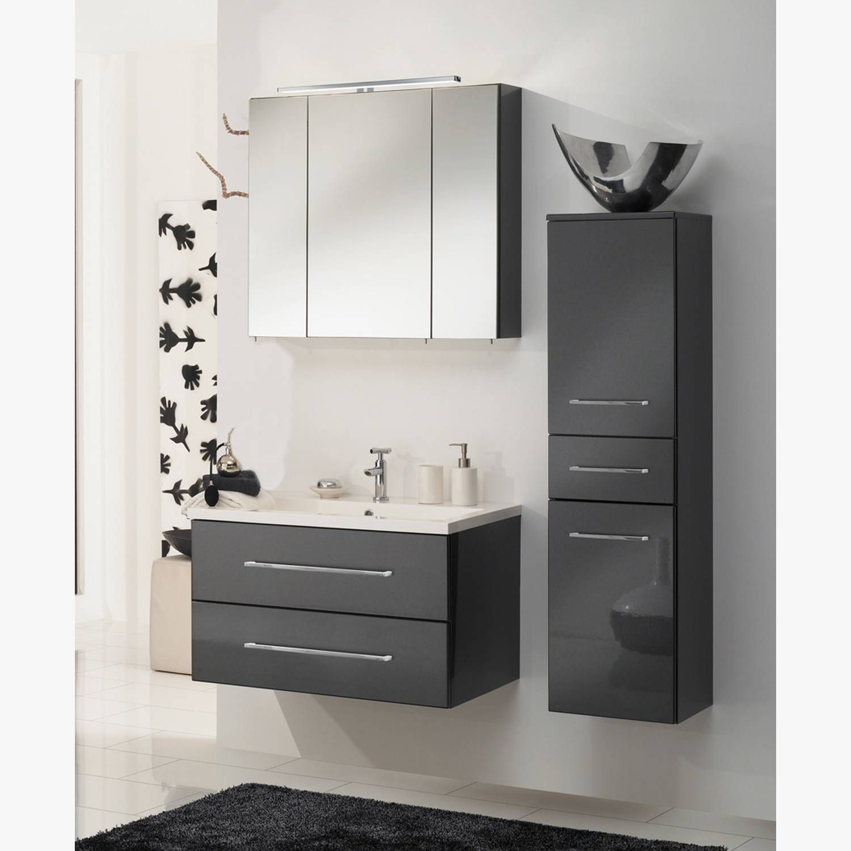 Badmobel Set 80 Cm Terni 57 Hochglanz Anthrazit B X H X T Ca 130 X 200 X 50 Cm Badezimmer Spiegelschrank Badmobel Kaufen Spiegelschrank Bad