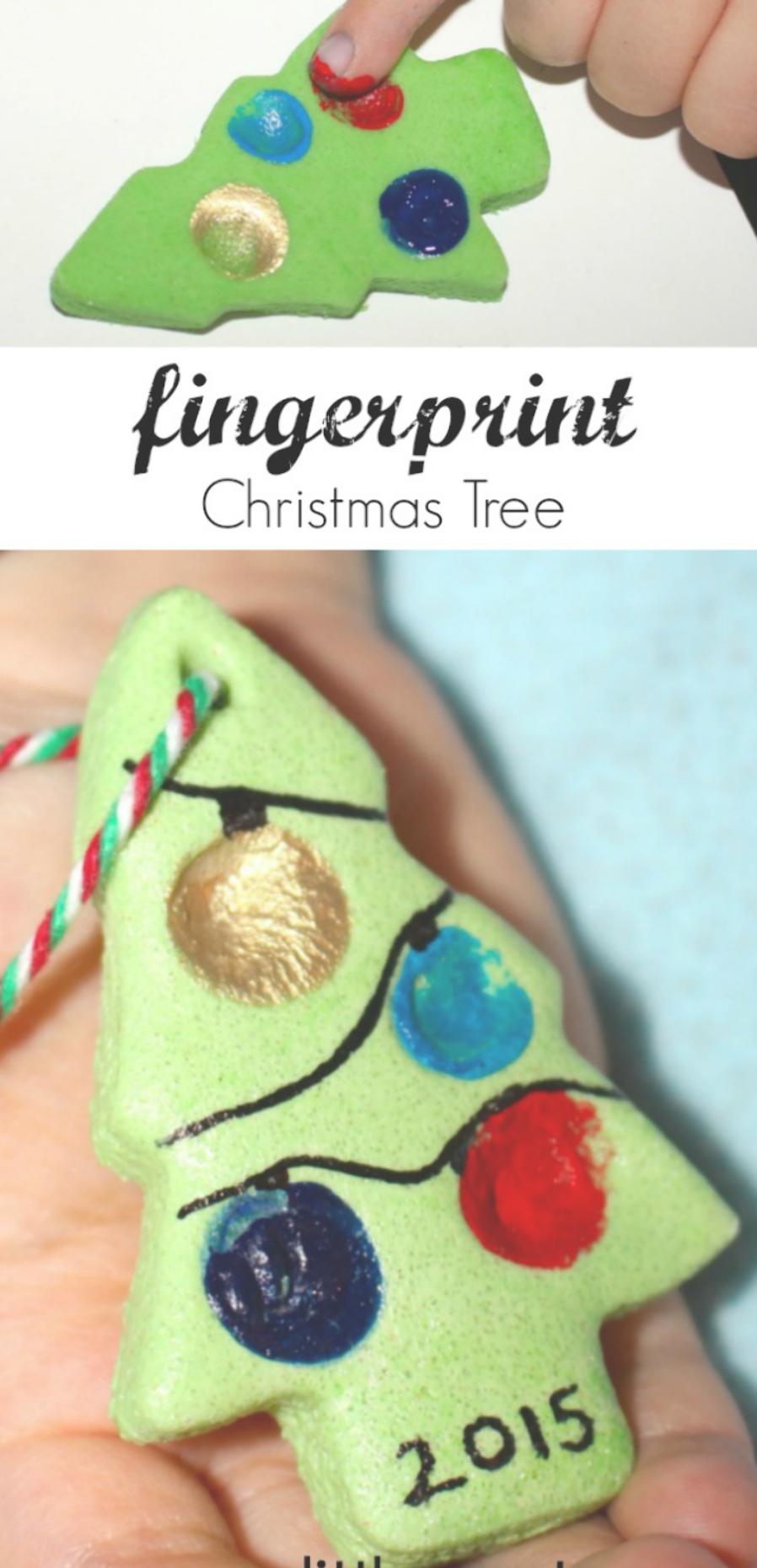 Fingerprint christmas tree crafts for kids. Coloured salt dough ornament recipe. Easy salt dough crafts. Personalized Christmas ornament for toddlers and preschoolers to make. #saltdoughornaments