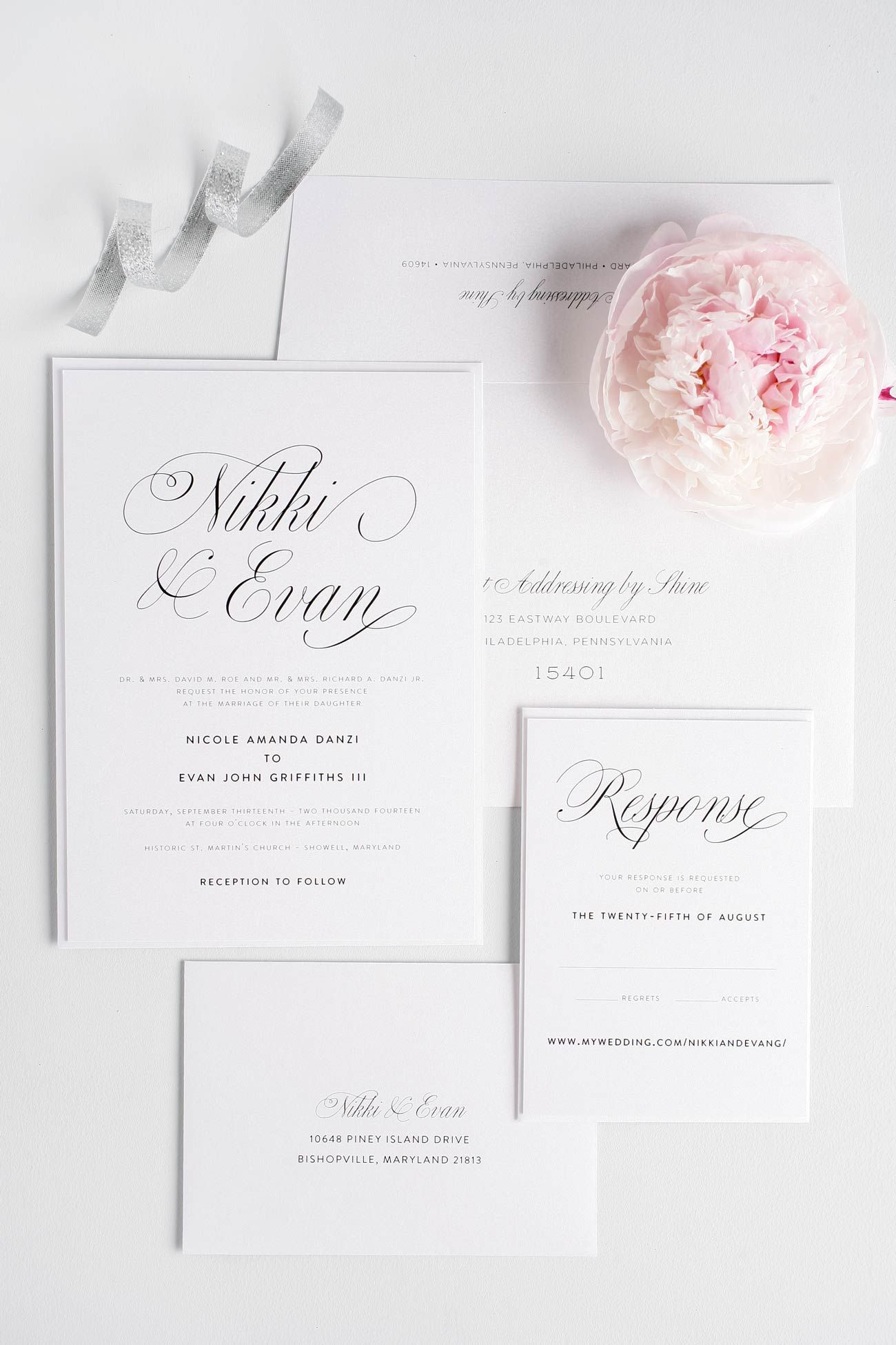 calligraphy script elegant wedding invitations in charcoal gray and blossom pink with a horizontal - Wedding Invitations Elegant