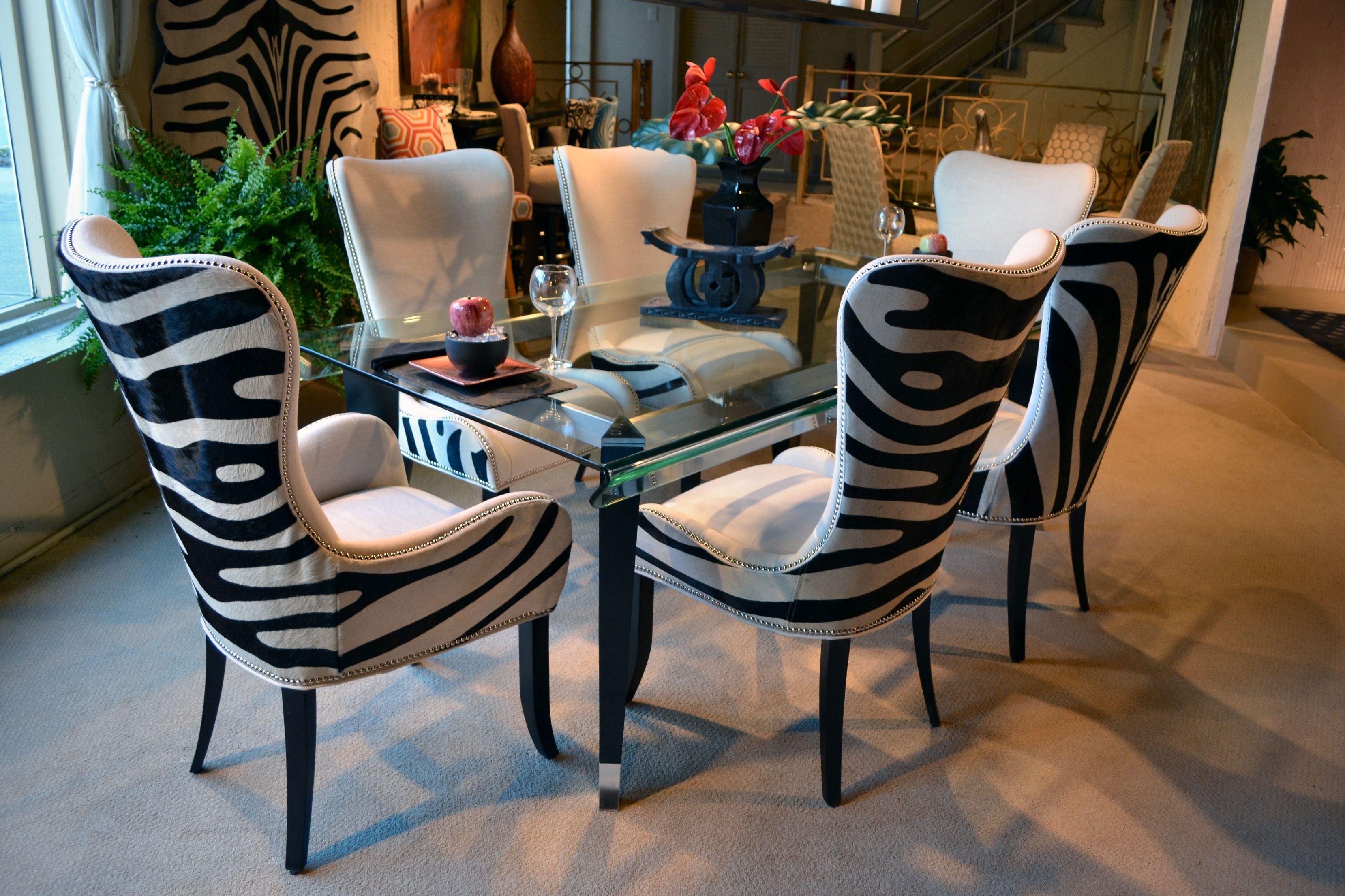 Denmark 01 512 Side Chair and 01 513 Arm Chair with zebra hair on