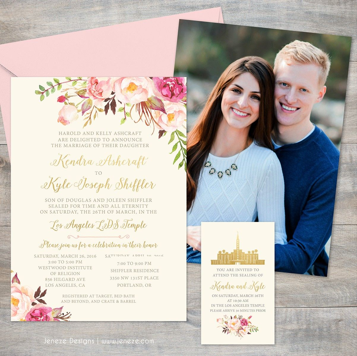 Custom Boho Spring Wedding Invitations With Cream Blush Pink And