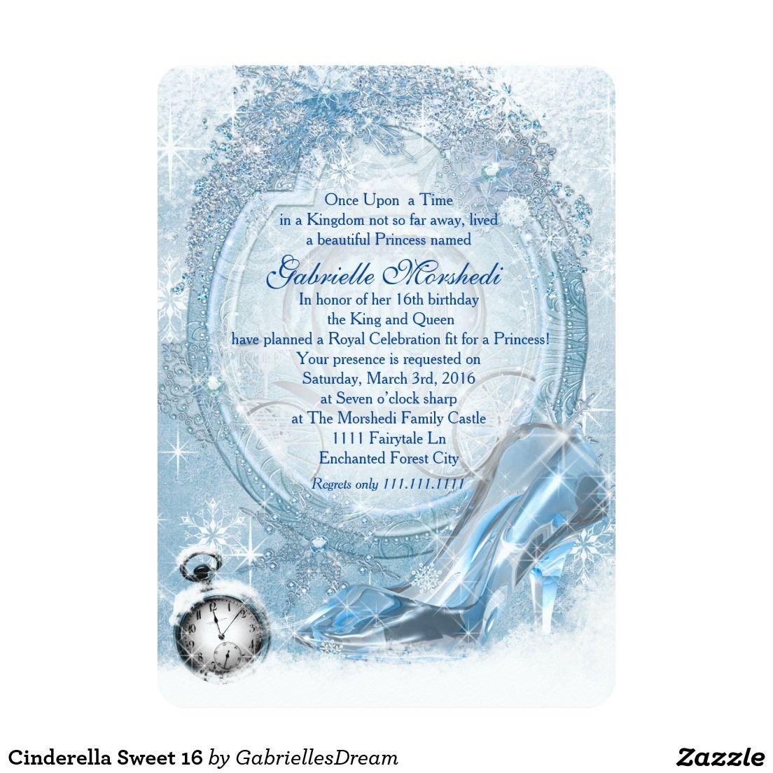 Cinderella Sweet 16 Card Cinderella Sweet 16 And Sweet 16