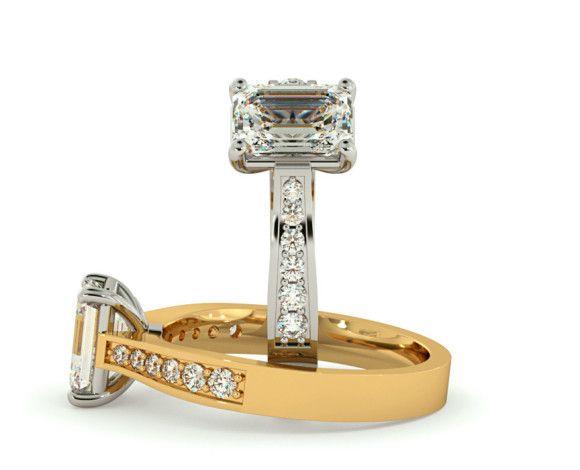 Emerald Cut Diamond Ring With Grain Set Accent Stones