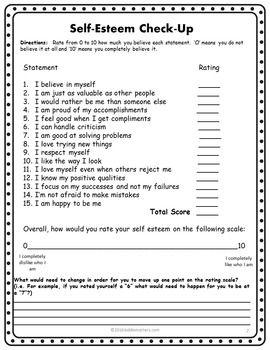 Self Esteem Worksheet for Adults