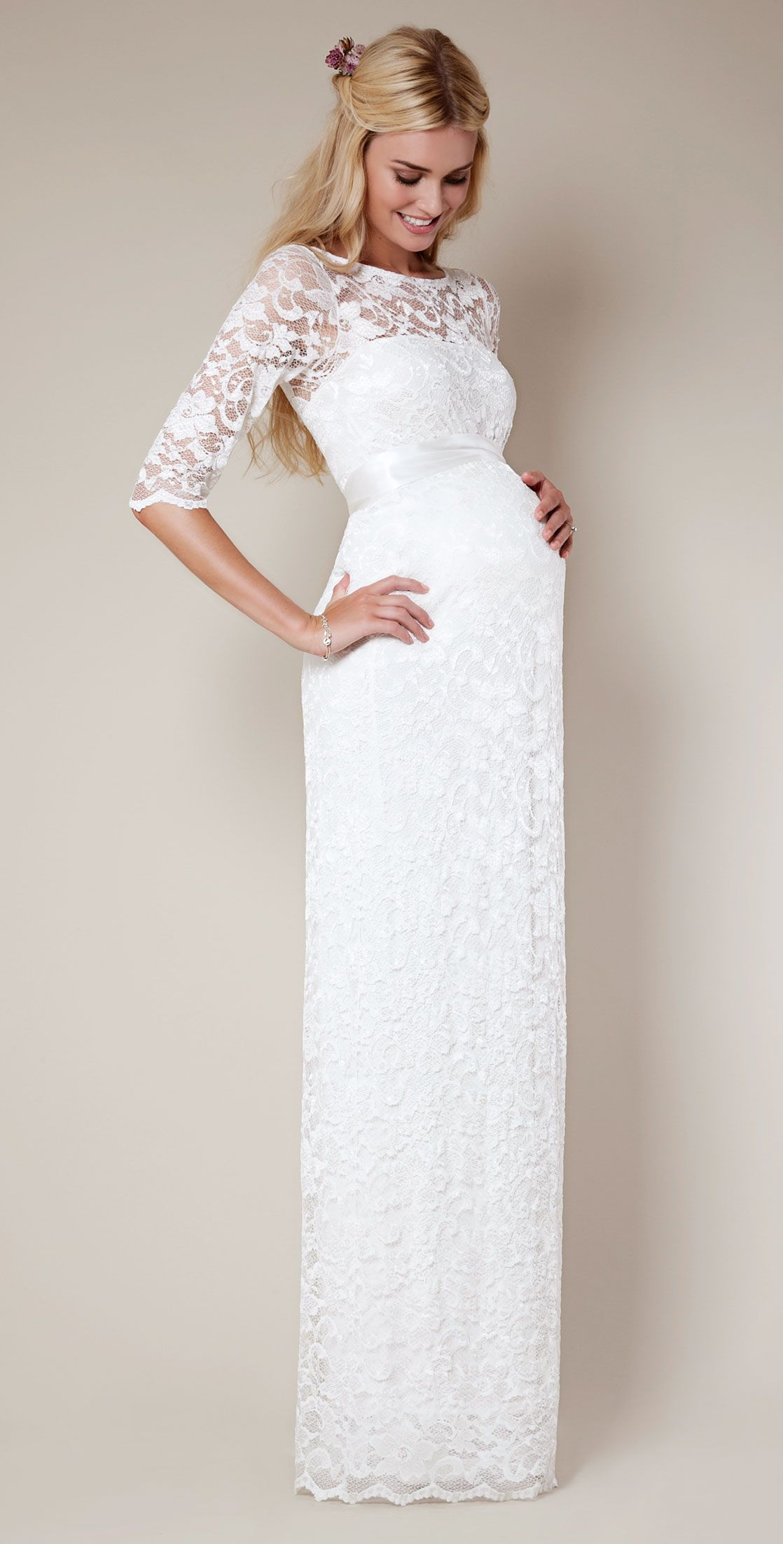 Amelia Lace Maternity Dress Long Ivory Wedding Dresses Evening Wear And Party Clothes By Tiffany Rose