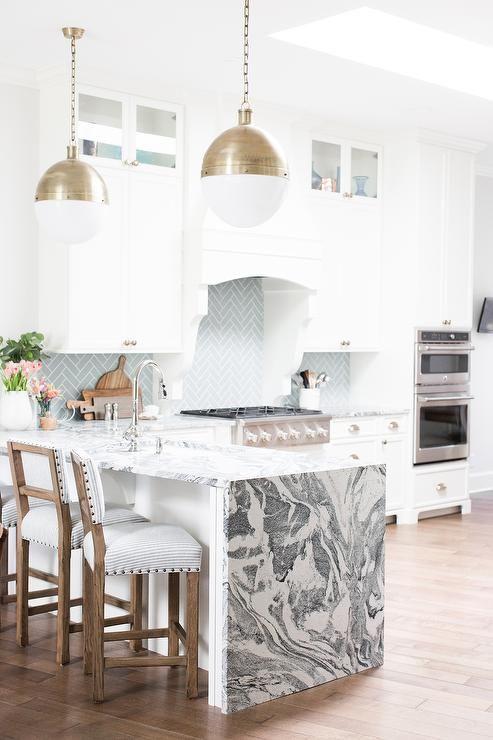 waterfall kitchen peninsula dream home pinterest kitchen