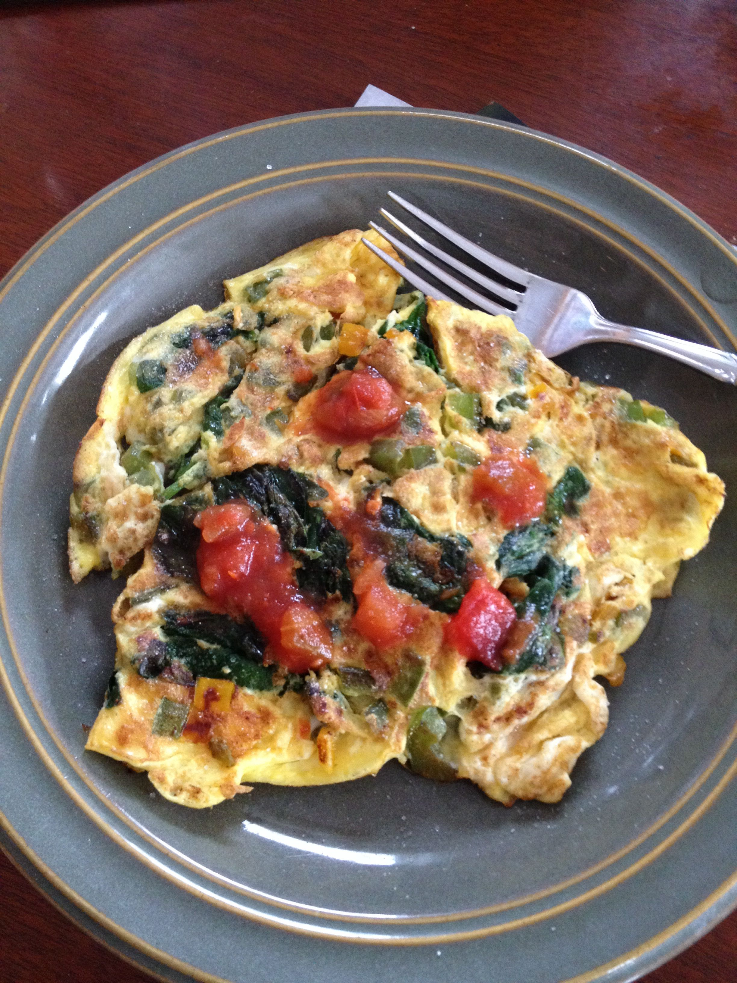 IP phase 1 safe-2eggs and 1 egg white(equals 4oz protein)+sautéed peppers  and spinach.