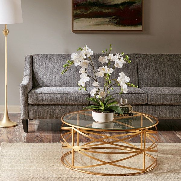 Inspire Vintage Hollywood Glamour In Your Parlor Or Living Room With This Statement Making Occasional Co Coffee Table Gold Coffee Table Glass Table Living Room #round #side #tables #for #living #room