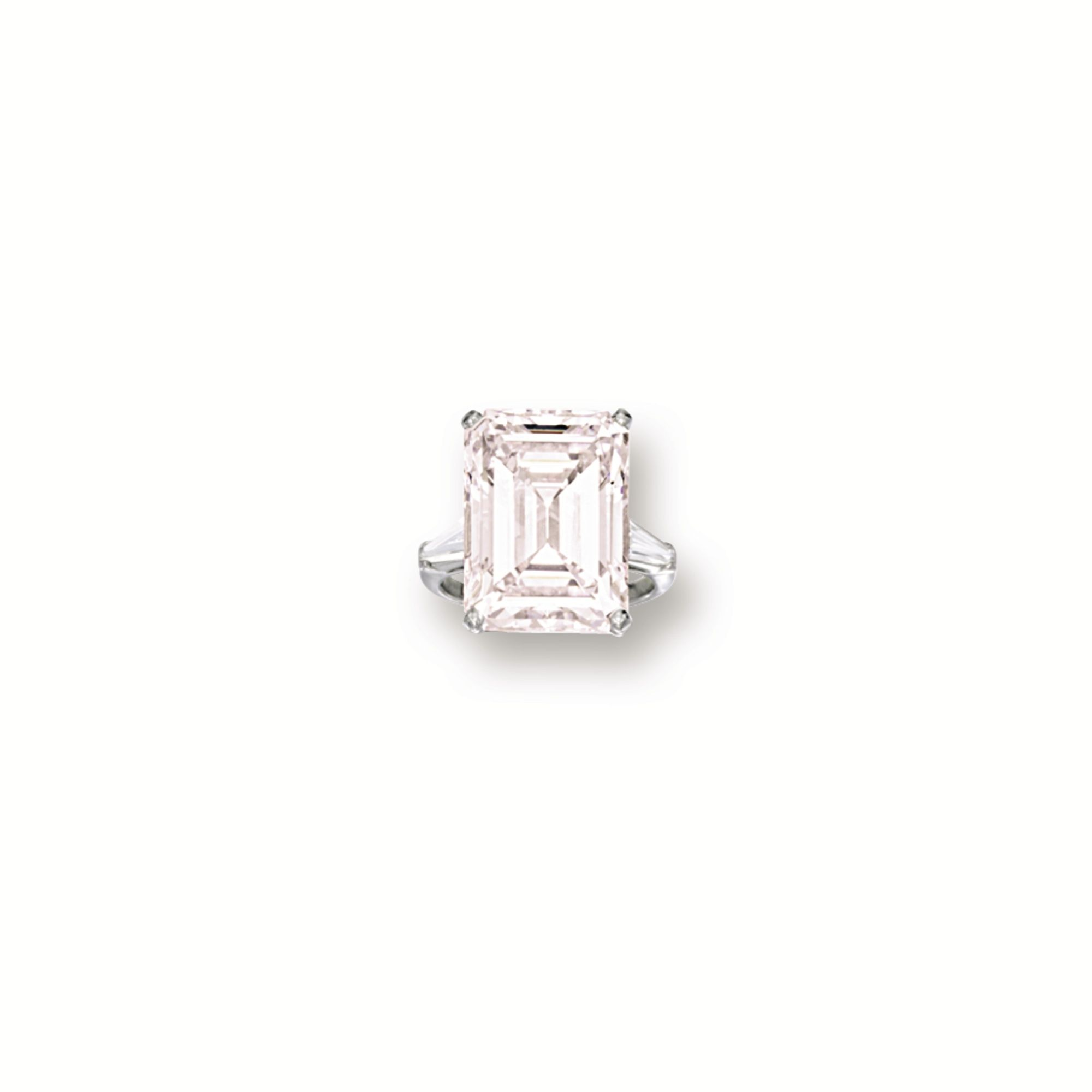Light Pink Diamond And Diamond Ring Cartier Centring On An Emerald Cut Light Pink Diamond Weighing 13 19 Carats Flanked On Each Side By A Tapered Baguette