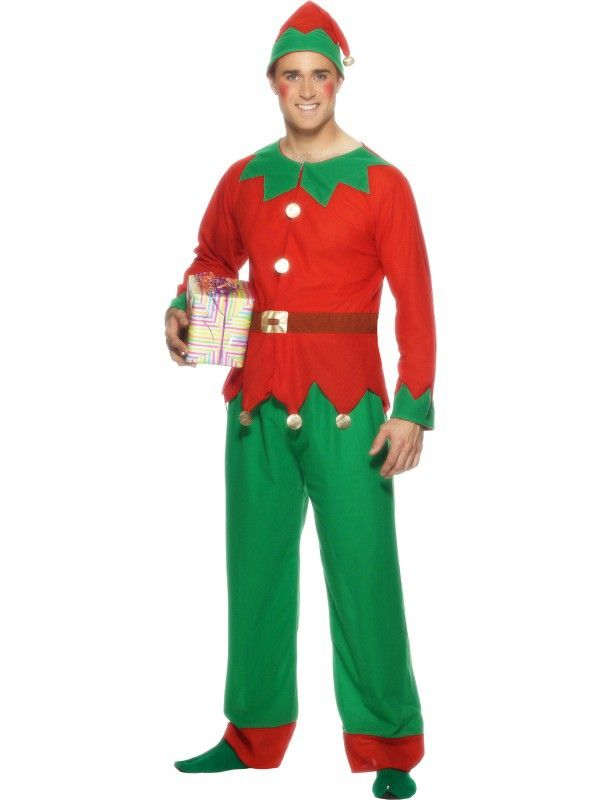 this jolly costume includes a red and green long sleeved top which has 2 white pompom