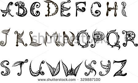english alphabet vector black and white drawing of letters with floral pattern of the english alphabet on a white background