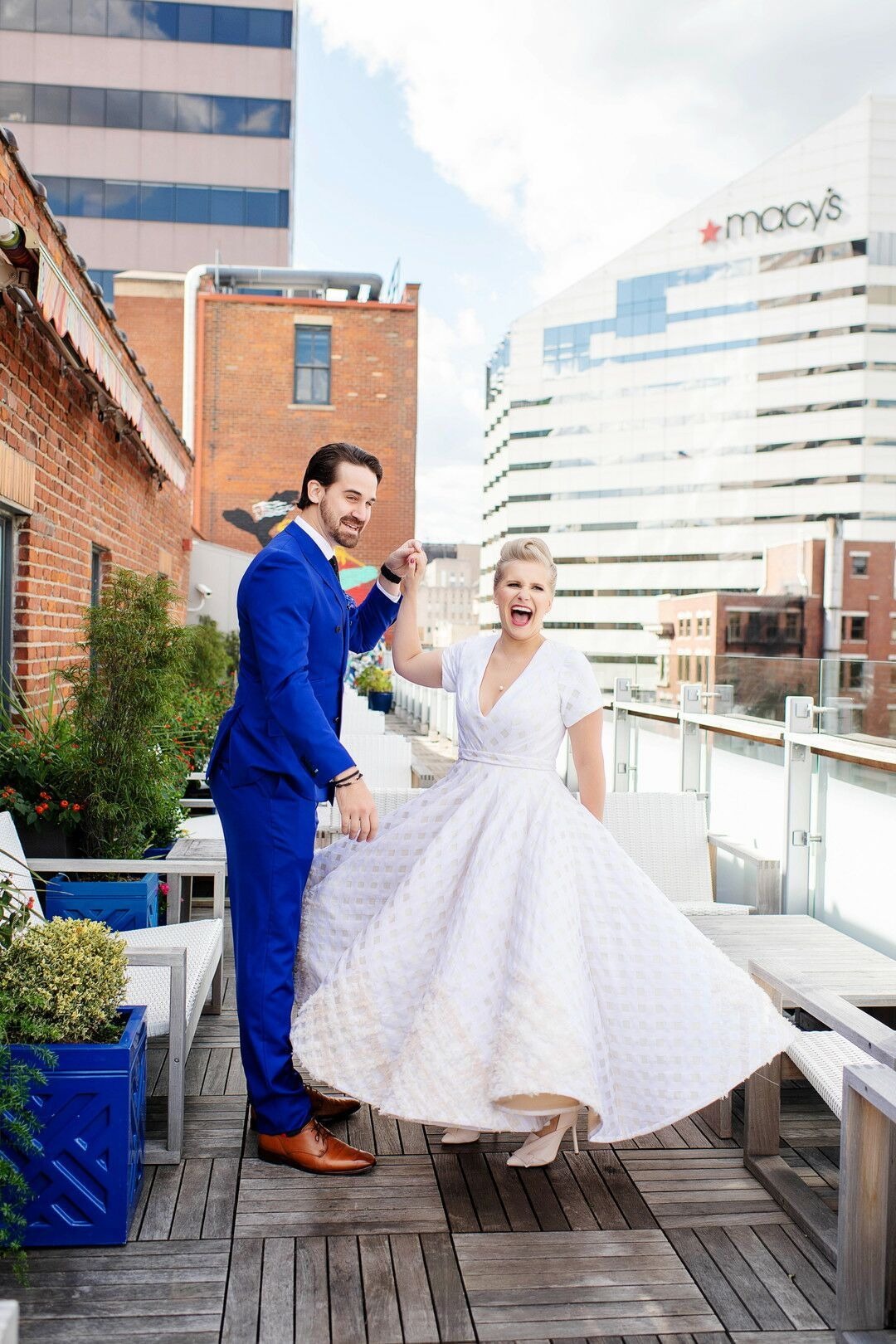 Eclectic Couple With Royal Blue Suit And Vintage Ankle Length Wedding Dress Ankle Length Wedding Dress Eclectic Wedding Royal Blue Suit [ 1620 x 1080 Pixel ]