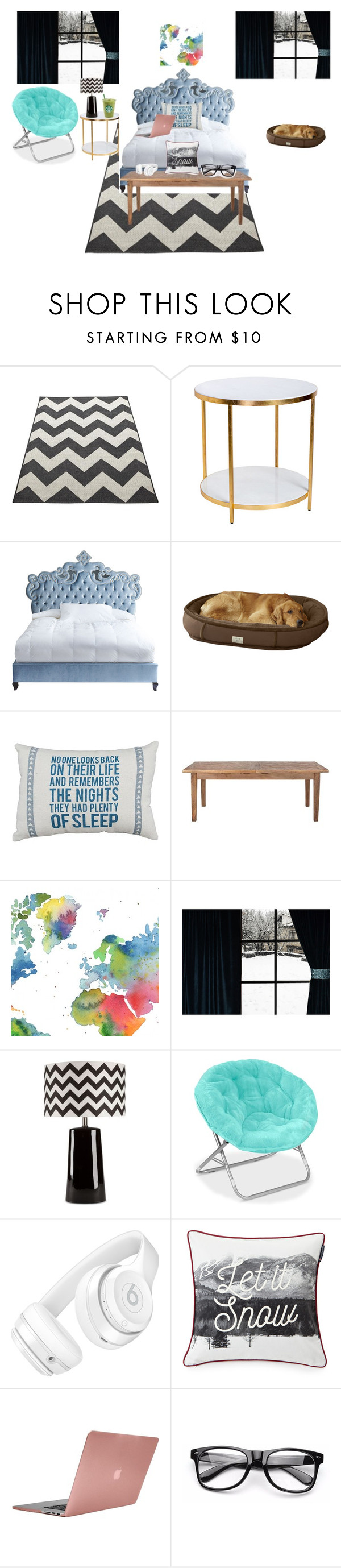 """my room"" by hannah-rugar ❤ liked on Polyvore featuring interior, interiors, interior design, home, home decor, interior decorating, Haute House, Home Decorators Collection, WALL and Surya"