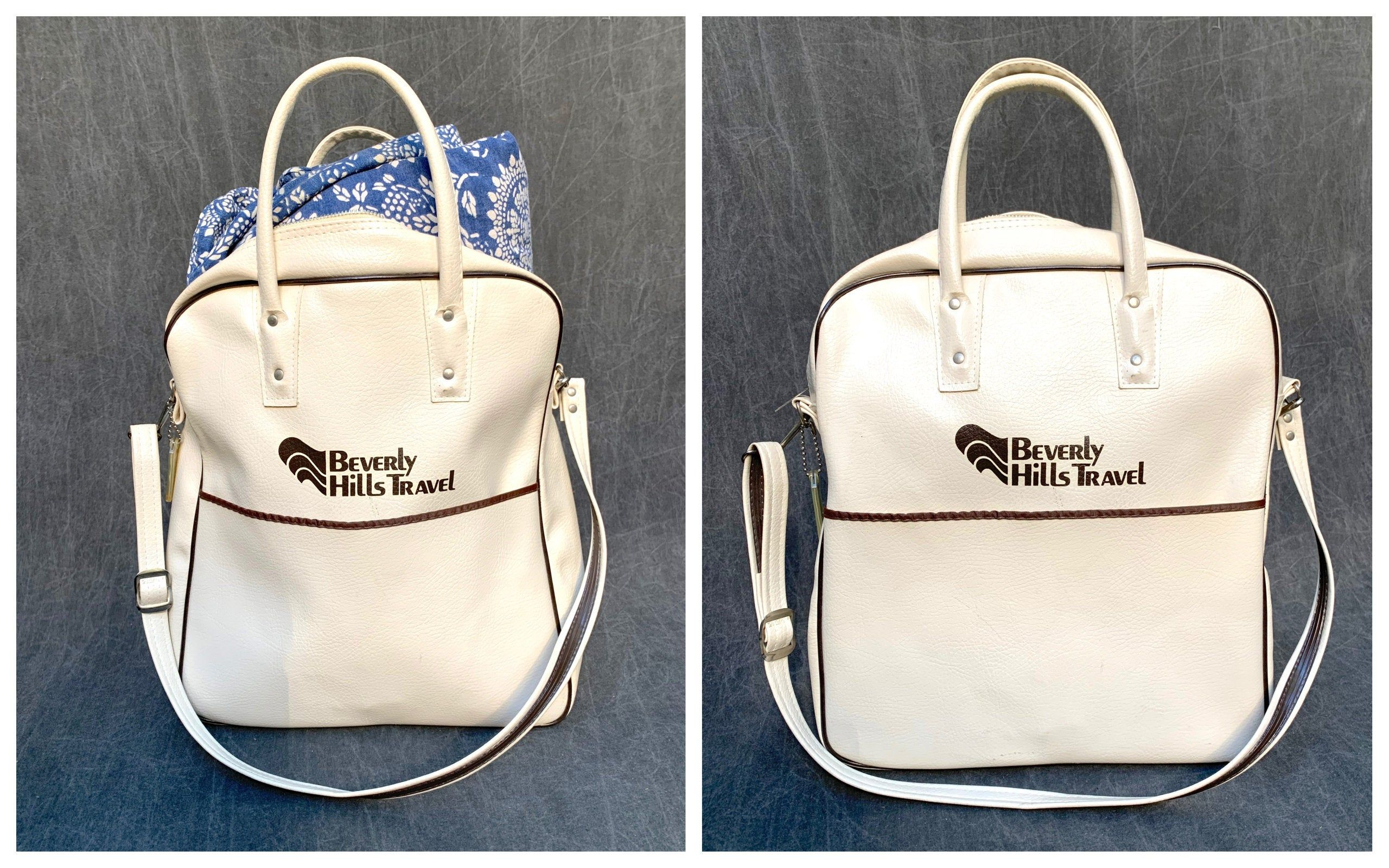 Vintage Vinyl Travel Bag White Beverly Hills Travel With Top Handles Shoulder Strap And Front Pocket In 2020 White Bag Bags Travel Bag