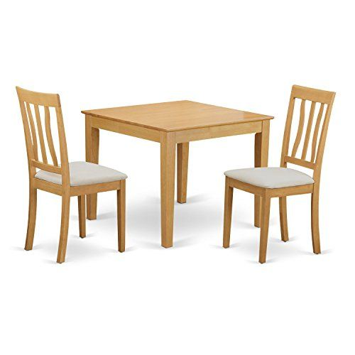 East West Furniture OXAN3 OAK C 3 Piece Table and 2 Chair Set