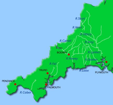 RIVERS Cornwall Map ✠ღ⊰n Cornwall Maps