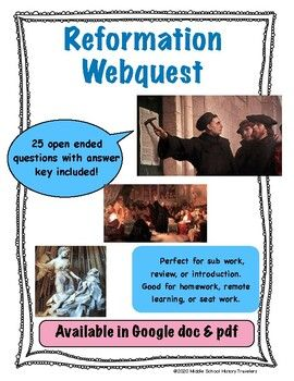 Reformation Webquest (Protestant Reformation, Martin ...