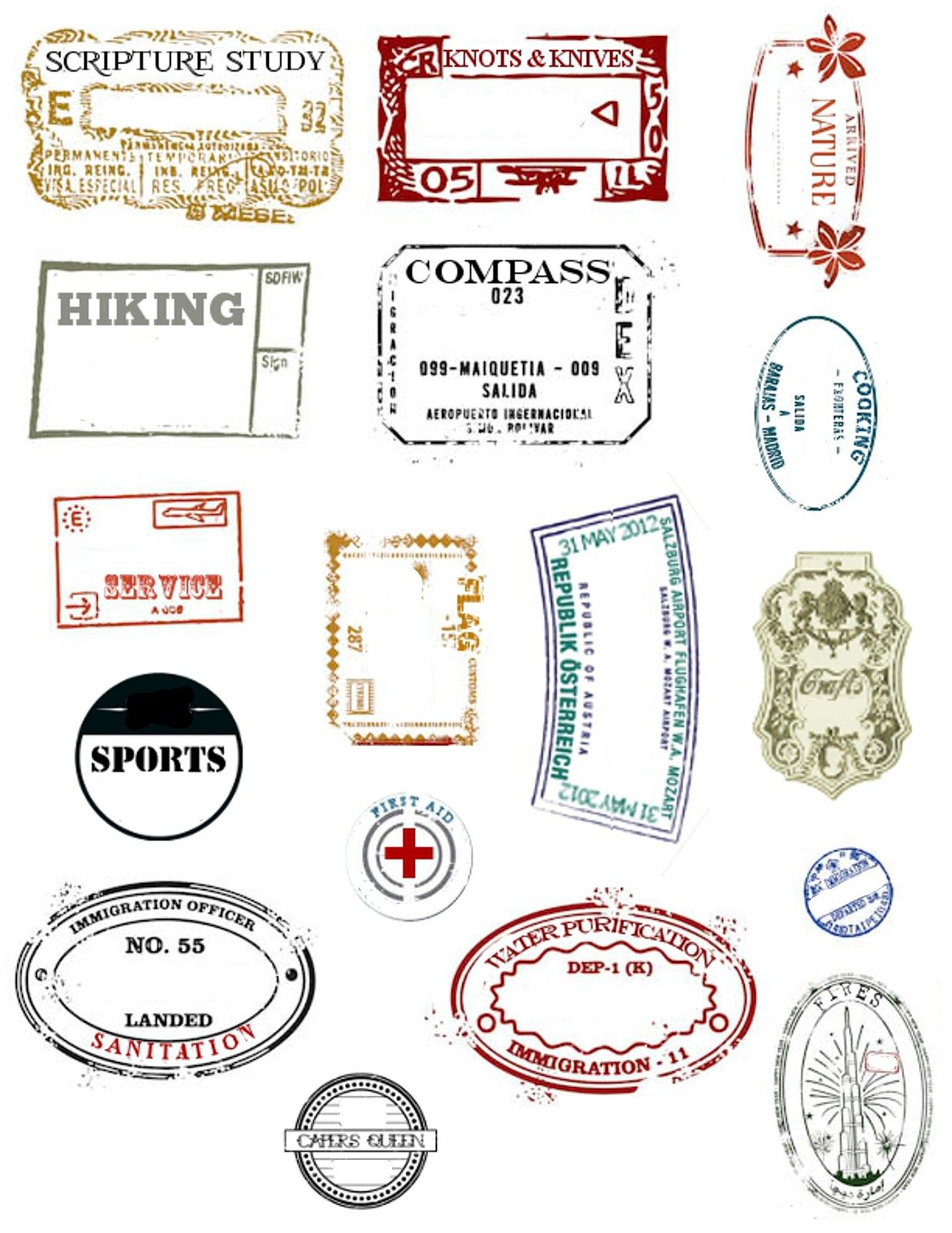 Embark Passport Stamp Printables