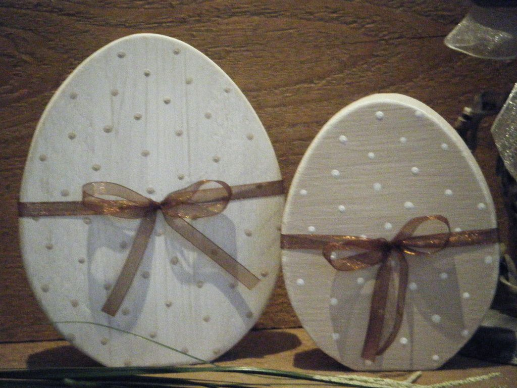 2 ostereier eier set aus holz im shabby chic basteln pinterest easter easter crafts and. Black Bedroom Furniture Sets. Home Design Ideas