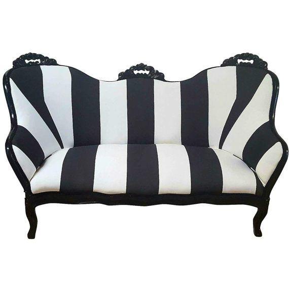 Modern Vintage Striped Loveseat Black And White Antique Victorian