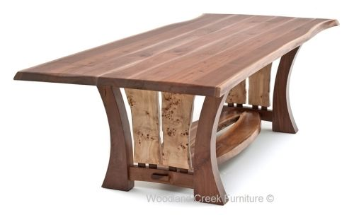 Modern Organic Table with Burl Wood Accents