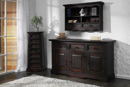 sideboard glory pinie massiv holz moebel kommode schrank anrichte dunkelbraun kommoden. Black Bedroom Furniture Sets. Home Design Ideas