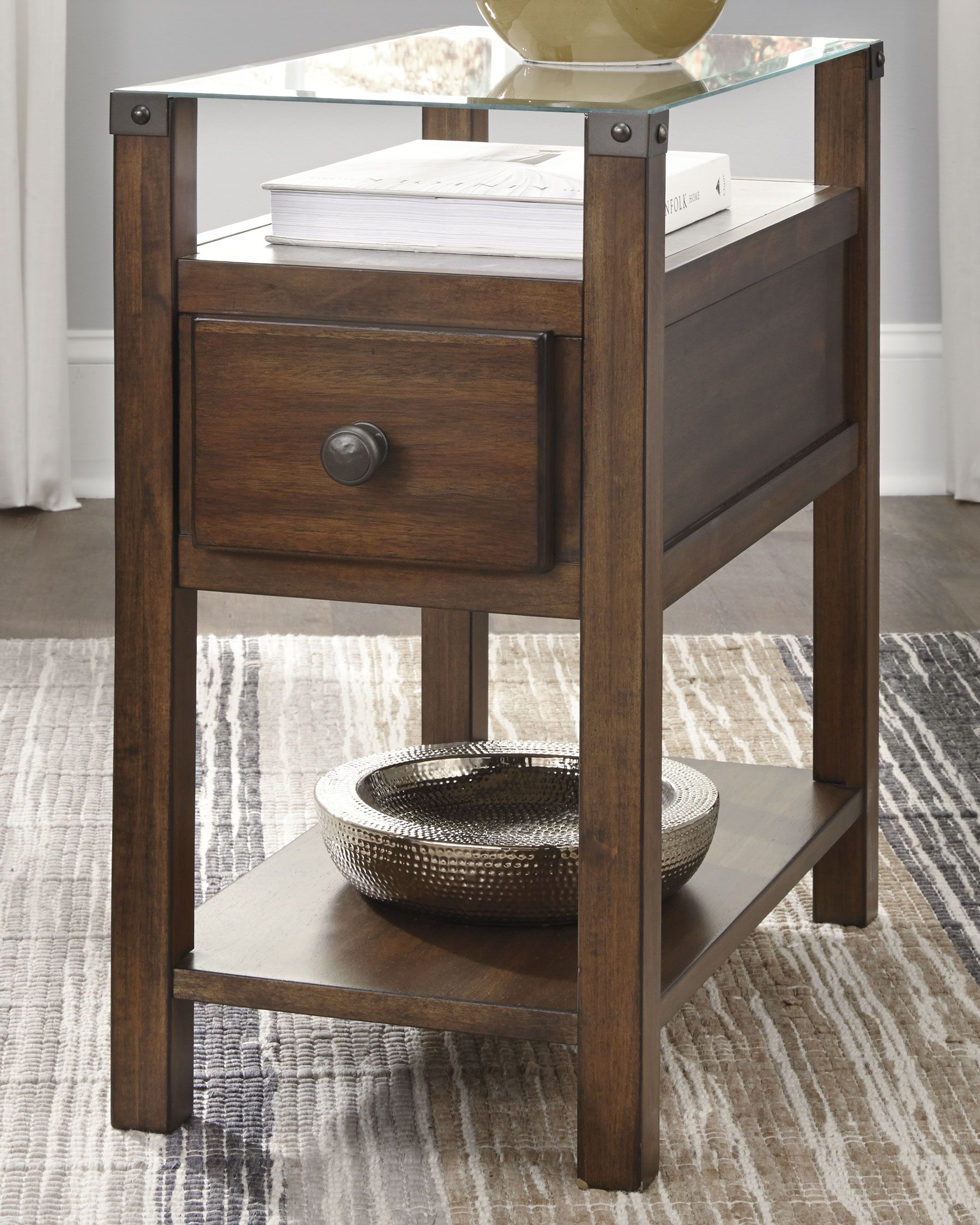 Diamenton Chairside End Table With Usb Ports Outlets Furniture