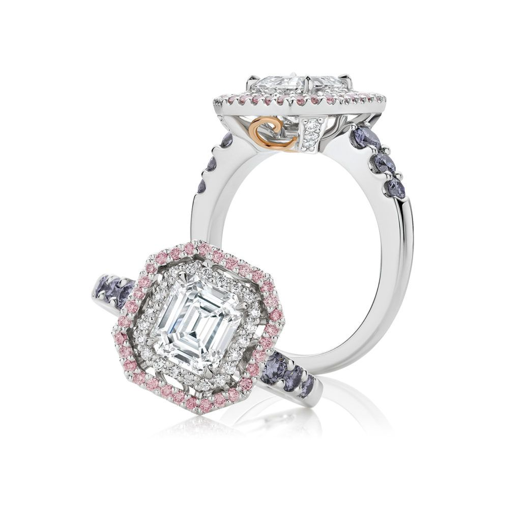 Mon Reve White Pink And Blue Diamond Engagement Ring Blue