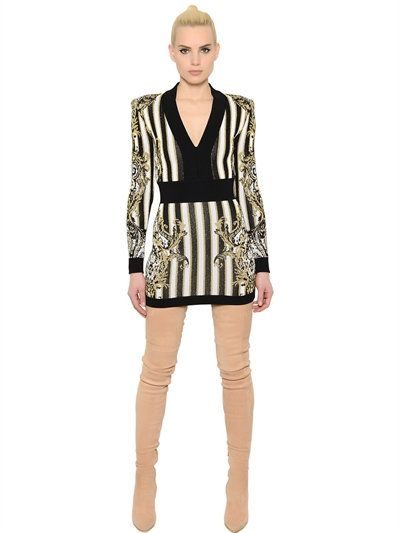 Balmain V Neck Stripe Jacquard Knit Mini Dress Black Gold