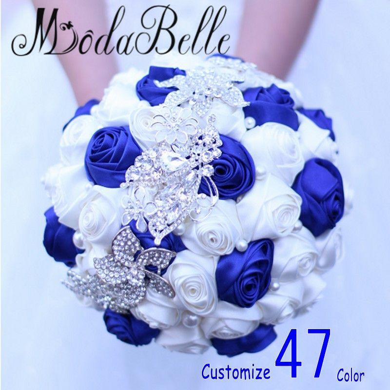 Royal Blue Wedding Flowers Bouquets Fleur Bleu Roi Bridal Brooch ...