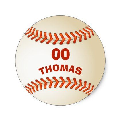 Add Your Name And Number Template Custom Baseball Classic Round Sticker