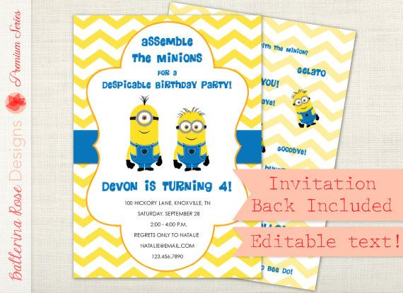 premium - despicable me minion birthday party invitation, editable, Birthday invitations
