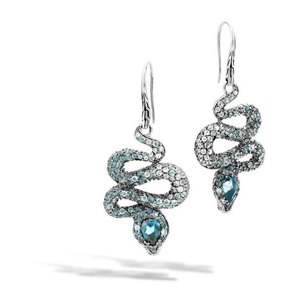 John Hardy Legends Cobra Blue & White Gemstone Drop Earrings (2,985 CAD) ❤ liked on Polyvore featuring jewelry, earrings, chain drop earrings, chain earrings, white earrings, blue gemstone earrings and blue crown