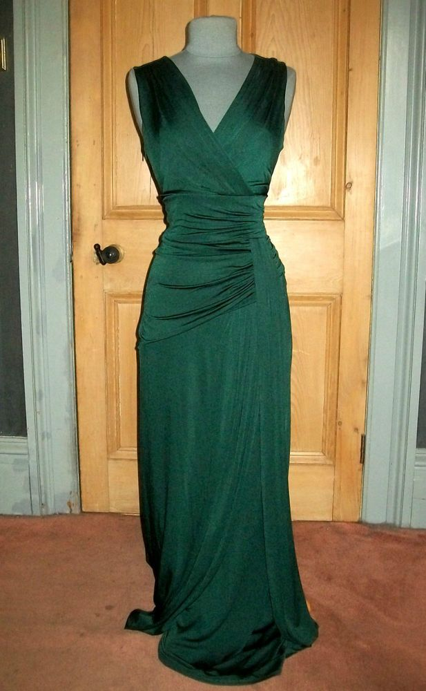 "Gorgeous phase eight ""bette"" long green grecian evening dress size"