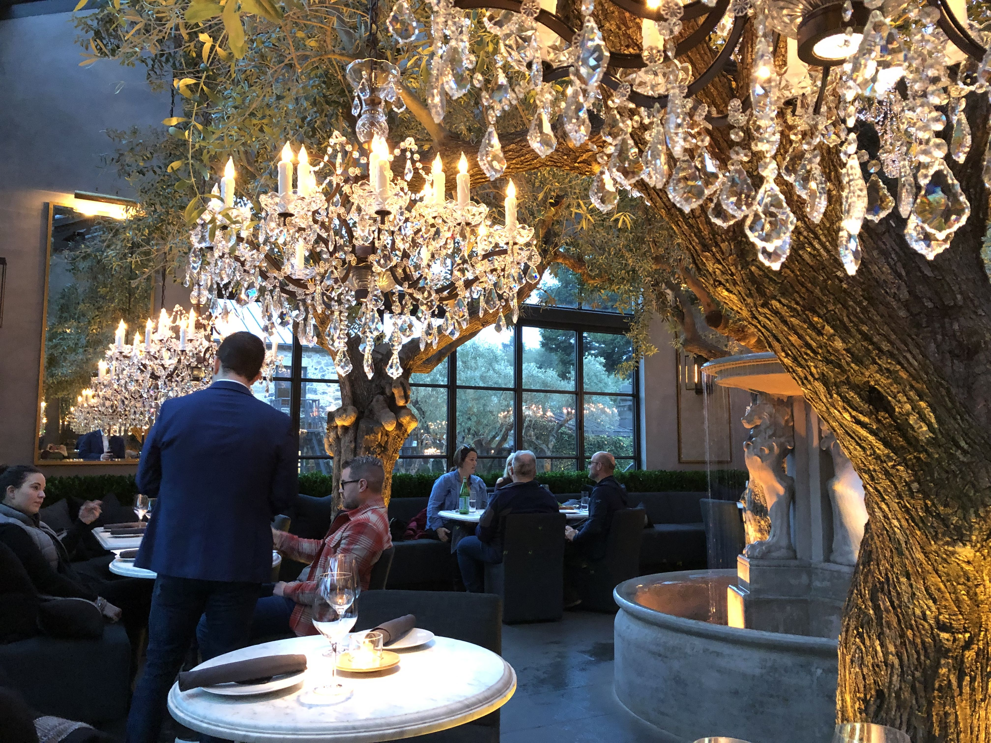 Rh Restaurant And Tasting Room Chandeliers And Olive Trees Yountville Ca Napa Valley Romantic Chandelier Single Pendant Lighting Crystal Chandelier