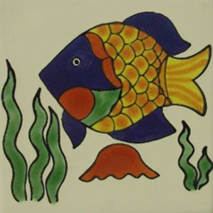 Captivating Mexican Talavera Tile Animal Design: Globe Fish Awesome Design