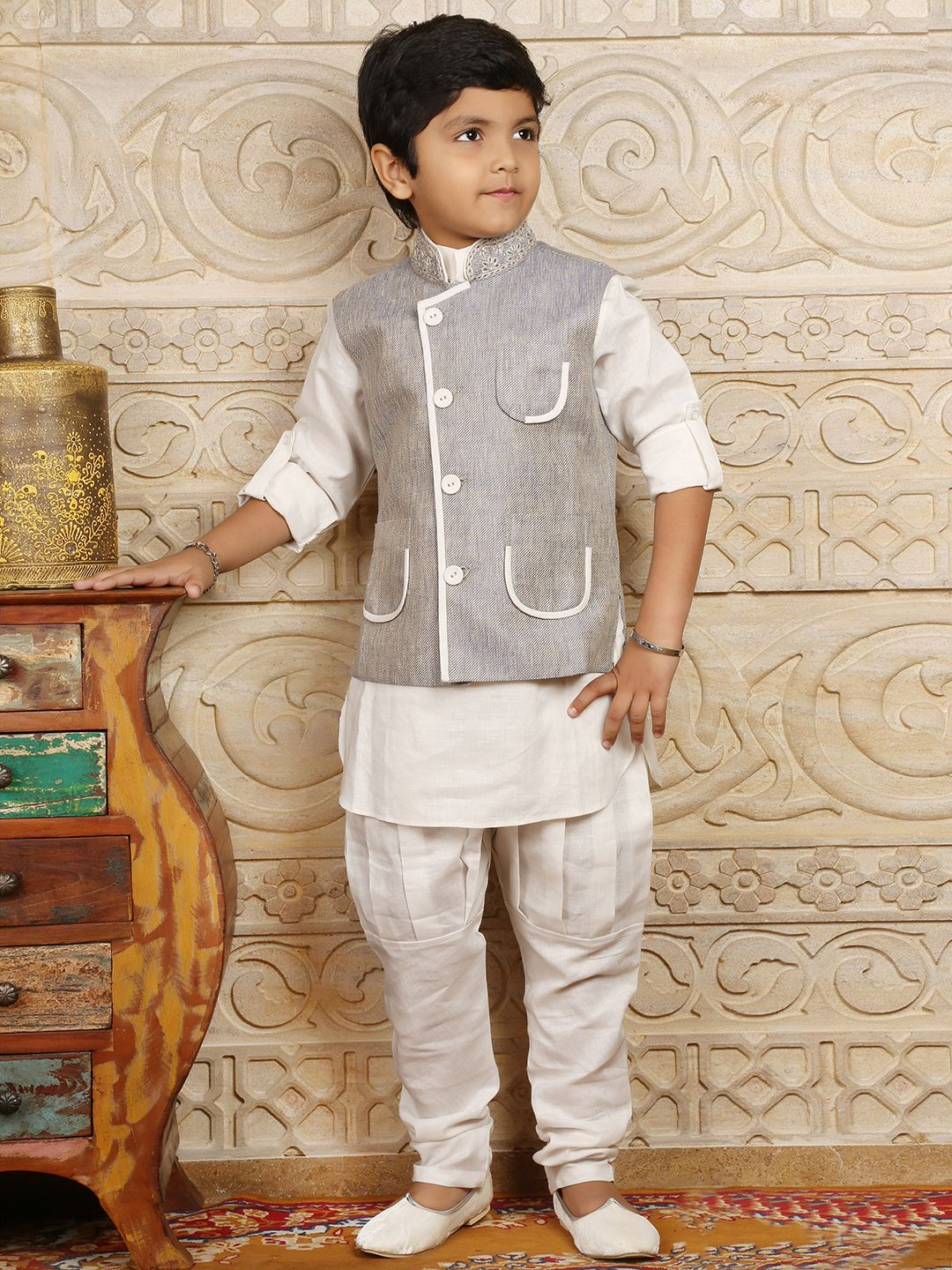 White Blue Linen Terry Rayon Boys Waistcoat Set | Kids dress ...