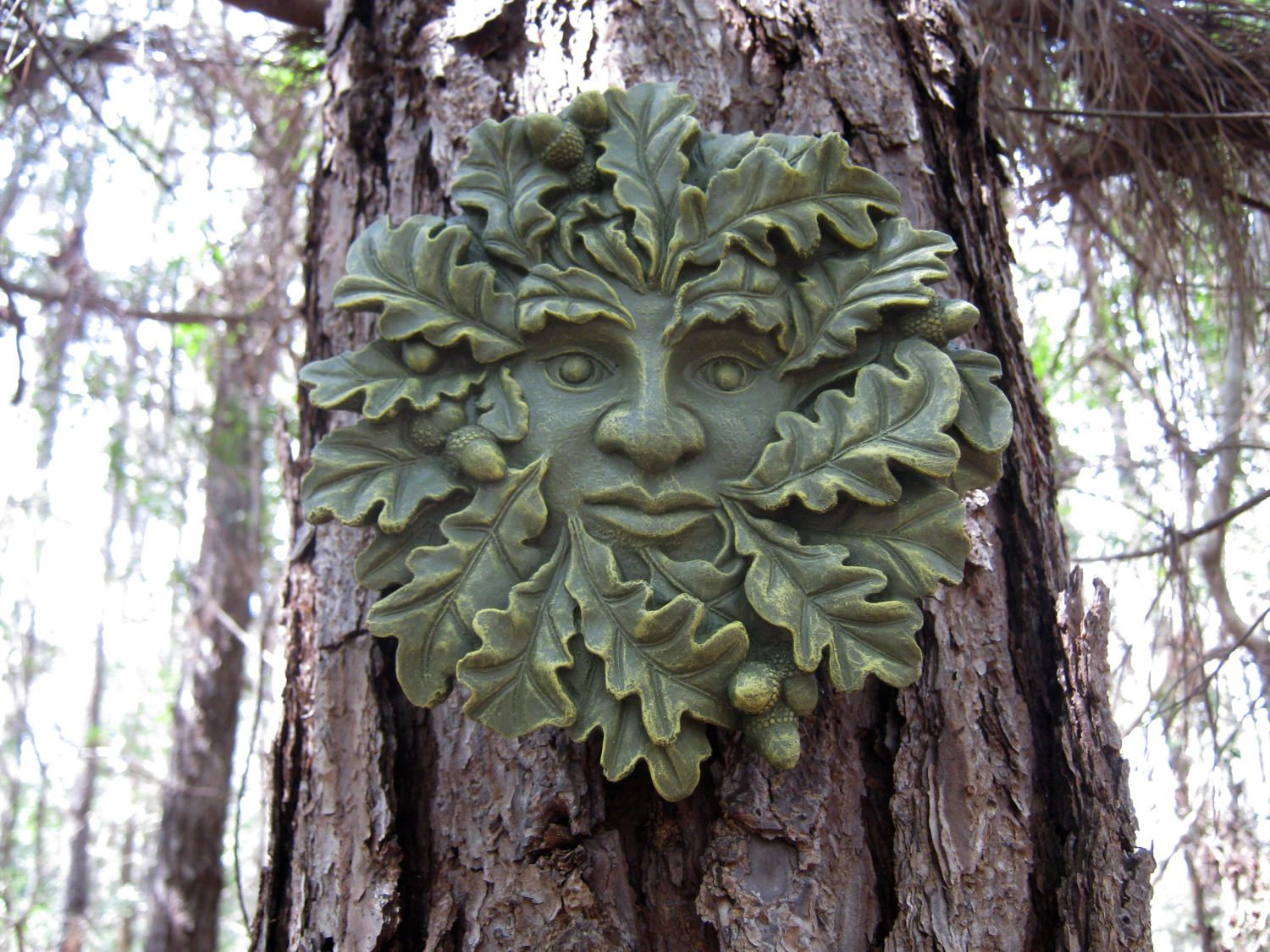 Garden decor tree  Green Man Face Concrete Face Oak Tree Face Cement Faces Tree
