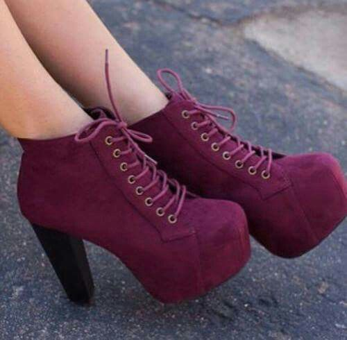 Shoes heels red thick wedges burgandy